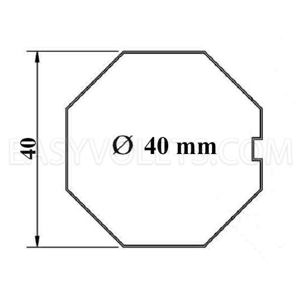 empreinte tube octogonal 40 mm Franciaflex